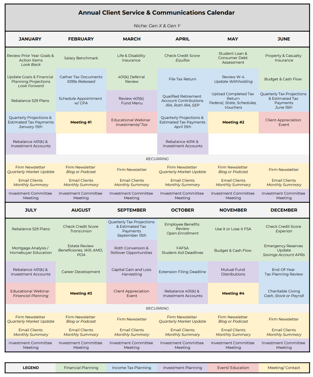 Annual Client Service and Communications Calendar