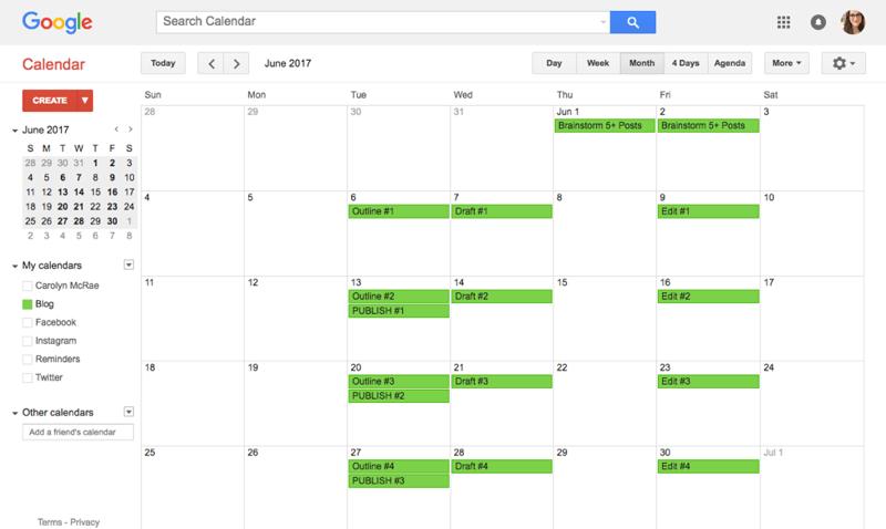 Sample Content Calendar 1