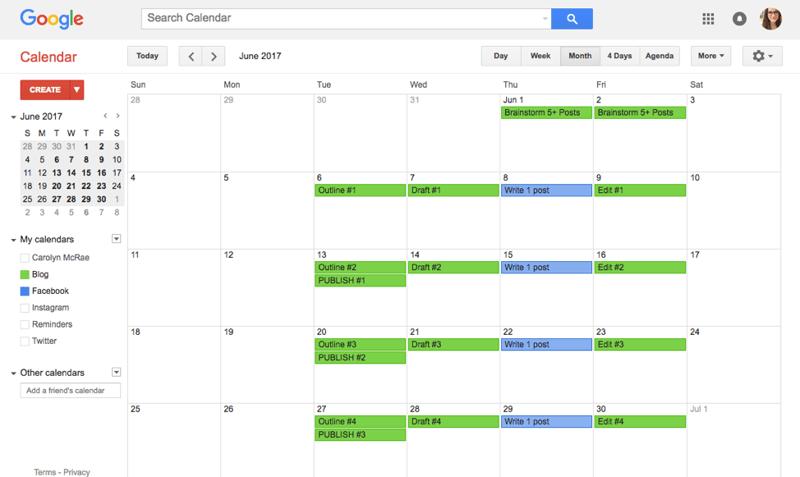 Sample Content Calendar 2