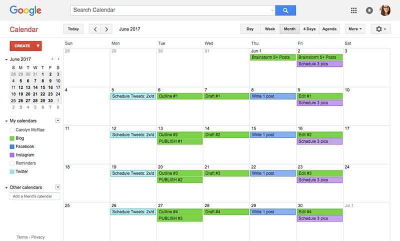 Sample Content Calendar 3