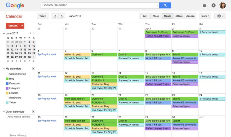 Sample Content Calendar 4