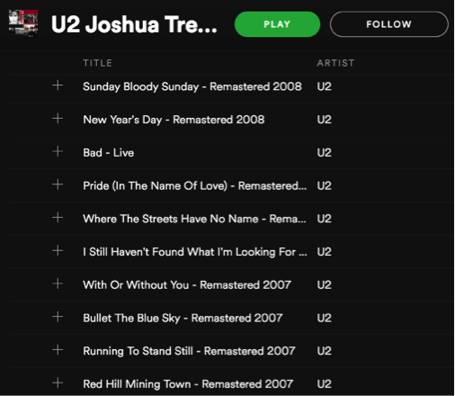 U2 The Joshua Tree Spotify Playlist