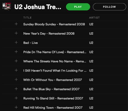 U2 The Joshua Tree Spotify Playlist