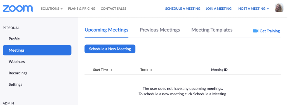 Zoom_Schedule a New Meeting